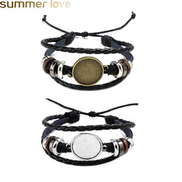 cabochon-armband Rabatt Heißer Verkauf Schmuck DIY Multi Layer Leder Armbänder Bangle Blank Basis Fit 20mm Runde Foto Glas Cabochon Einstellung Lünette Tray Schmuck Makin