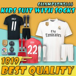 ba0a2d3cb 18 19 Real Madrid ASENSIO kids soccer jerseys kids sets 2018 2019 THIRD red  BALE ISCO RAMOS men kits football shirts home away MODRIC