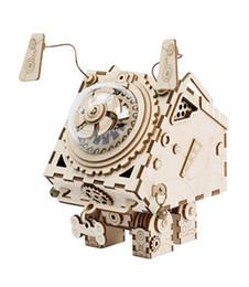Robô cão Alienígena Modelo 3D Puzzle Artesanato DIY criativo presente romântico caixa de música De Madeira decoração de Casa Crianças brinquedo de madeira presente de Fornecedores de teste de pc