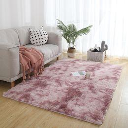Pavimenti faux online-Morbido Faux pelle di pecora pelliccia tappeti per camera da letto pavimento Shaggy Silky peluche tappeto gradiente Faux Fur Rug comodini