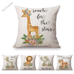 linen giraffe cushion cover Promo Codes - Cute Cartoon Animals Floral Children Baby Room Decoration Sofa Throw Pillow Cover Lovely Cotton Linen Giraffe Cushion Cover Case