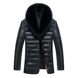 2019 uomini della giacca di pelliccia della pelliccia di volpe inverno degli uomini caldi di giacche di pelle e cappotti nuovi uomini PU giacca uomini giacca lunga giacca invernale con collo di pelliccia di volpe realmente uomini della giacca di pelliccia della pelliccia di volpe economici