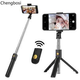 Monopod senza fili del selfie del bluetooth online-3 in 1 Wireless Bluetooth Selfie Stick Mini treppiede Allungabile monopiede universale per iPhone XR X 7 6s Plus per Samsung Sticks