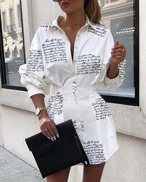 2019 robe de femme courte d'or Lettre d'impression sexy mini-manches longues blanc femmes robe chemise courte soirée club robe automne-hiver élégante moulante