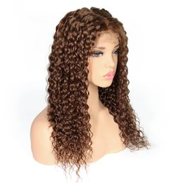 volle Spitzeperücken Lace Front Perücken lockige helle dunkelbraune Farbe Babyhaar Pre gezupft natürlichen Haarstrich malaysischen indischen brasilianischen peruanischen Haar von Fabrikanten
