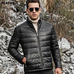 2019 chaqueta de cuero 6xl SABOR Hombres de piel de cordero Chaqueta de cuero genuino Hombre Collar de pie Abrigo de pato blanco cálido chaqueta de cuero 6xl baratos