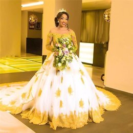 vestido negro de novia con cuentas Rebajas Ginger Sheer Cuello de joya Manga larga Vestido de bola Vestido de novia Apliques Granos Elegante Vestido nupcial para niñas negras Sudafricano de mariee