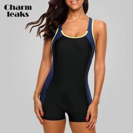 aprire indietro un pezzo swimwear Sconti Charmleaks Un pezzo donne di sport Costumi da bagno di sport del costume da Colorblock Swimwear schiena aperta Beach Wear i vestiti di bagno del bikini