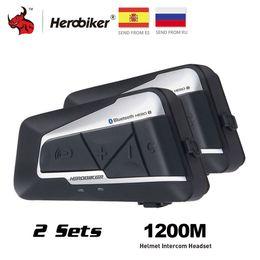 casco de moto bluetooth inalámbrico Rebajas auricular HEROBIKER intercomunicador del casco impermeable Bluetooth Wireless Headset intercomunicador de la motocicleta Interphone para 2 paseos 1200M 2set