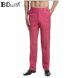 08814a7ddcf4 2019 más nuevos hombres fucsia Slim Fit traje pantalones casuales de boda  rectos pantalones masculinos frente plana pantalones de vestir para la  fiesta de ...