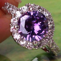 Argentina Púrpura, corte redondo, Morganita, blanco, oro blanco, 18K, baño de topacio, gemas, talla 8 cheap 18k gold Suministro