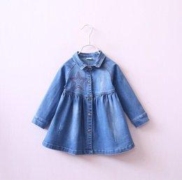 ricamo dei jeans del bambino Sconti autunno Baby Girl giacca di jeans cappotto Ricamo Stelle bambini Capispalla bambini Abbigliamento moda casual casual