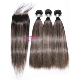 ombre cheveux vierge remy Promotion Paquets de cheveux humains avec fermeture à lacets Remy Ombre Piano Couleur Armure de cheveux humains F-T1b 27 Bundles vierges brésiliens cheveux avec fermeture 4x4