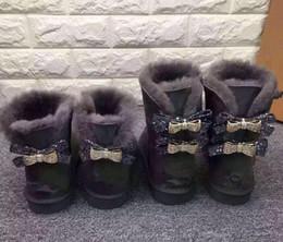 botines morados sexy Rebajas 2019 envío Australia Classic Nueva moda WGG solo doble diamante Botas de nieve para mujer invierno cuero arco rhinestone corona cálido grueso Cotto
