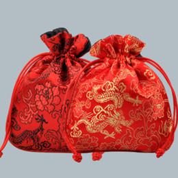 Bordar bolsa on-line-Novo Chinês Dragão Imprimir Bordar Bolsa de Embalagem de Jóias Saco de Cordão Favores Do Partido de Casamento Presente Frete Grátis