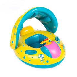 Anillo infantil de natación online-2019 Infantiles Infantiles Anillos Inflables para Bebés Asiento de Natación Barco Niños Piscina Flotador Anillo de Natación Con Sombra Extraíble Dosel