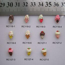 Cone de unha on-line-RC118 / 127 30pcs / saco dos desenhos animados Ice-Cone Ice Cream Deco Resin dos desenhos animados Deco prego Decoração Nail Art DIY