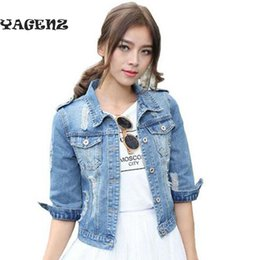 three quarter denim shorts Coupons - plus size 5xL denim jacket for Short section women 2019 Three Quarter Short Jeans Women's Jacket Slim Jeans Large Size