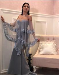Prata Cinza Vestidos de Noite 2019 Long Dubai Moda Caftan Lantejoulas Sereia Elegante Vestido Formal Árabe de