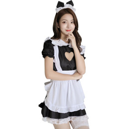 heiße uniformen magd Rabatt Cosplay Maid Uniformen Porno Sex Kostüme Sexy Dessous Hot Lace Maid Outfit Frauen Erotische Unterwäsche Babydoll Kleid Nachtwäsche