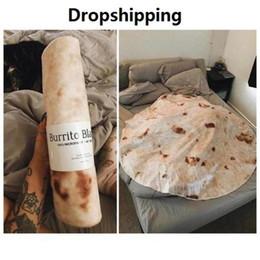 Tapetes impressos on-line-Tortilla Cobertor Carta Impressão Rug Rodada Burrito Pequeno Tapete para Home Office Camping Piquenique Cobertor Ao Ar Livre Dropship