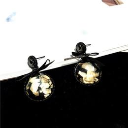 Коробки черный лук онлайн-Новая корейская мода диких ювелирных изделий черный ящик квадратный круглый лук лук серьги стержня женские ювелирные аксессуары оптом