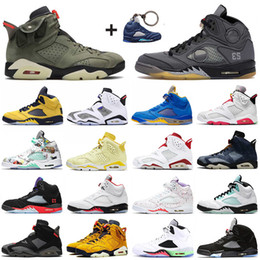 Zapatos de mezclilla para mujer online-Nike Air Jordan Retro 5s 5 OFF White Black Muslin Travis Scott 6 6s Stock X Top Jumpman Hombre Zapatillas de baloncesto Hare Fire Red Washed Sport Zapatillas de deporte Zapatillas