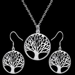 6b0ad1c74935 árbol de aretes para niñas Rebajas El árbol de la vida colgante collar  pendientes conjunto plata