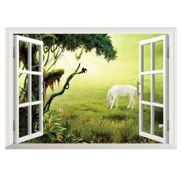 fondos de pantalla de caballos Rebajas Pegatinas de pared 3D Decoración de la pared del hogar Prairie Horse Kids Room Decoración del dormitorio DIY Ventana falsa Poster Mural Wallpaper Wall Decals
