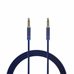 2019 стерео провода Car Audio AUX Удлинительный кабель Нейлоновая оплетка 3-футовая 1M проводная Вспомогательная стереоразъем 3,5 мм, штекер, для Apple и Andrio Динамик мобильного телефона дешево стерео провода