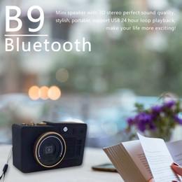 Mini Kamera Tarzı bluetooth hoparlör Taşınabilir ahşap stereo subwoofer desteği TF kart USB Disk AUX-in Oyna FM radyo B9 ahşap kablosuz Hoparlörler nereden