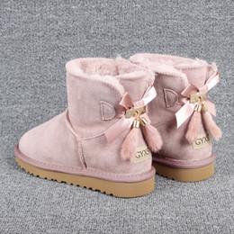 2020 topos bowtie bowknot tamanho 34 a 43 de alto grau botas austrália neve adorável cowskin couro real de espessura botas de pele sapatos de grife tradingbear desconto topos bowtie