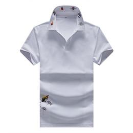 рубашки поло для мужчин Скидка Новая Италия бренд дизайнер рубашки поло Мужчины повседневная поло футболка змея пчелы цветочные вышивка полоса поло мода классический роскошные рубашки поло