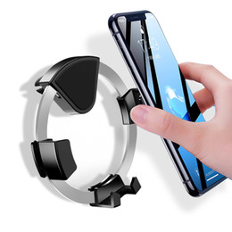 hands free car phone holder Promo Codes - 360 rotate Car Air Vent Mobile Cell Phone Holder Hands Free Round Circle Shape Auto Lock Gravity in Car Mount Phone Holder Cradle