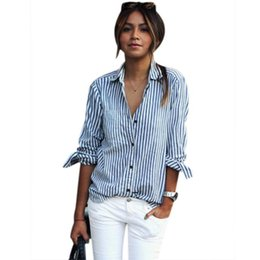 Простые простые длинные блузки онлайн-New Women Blouse Fashion Ladies Striped Long Sleeved Lapel Shirt Casual Simple Blouses Slim Loose Blouses Tops Blusas 2019 #10T