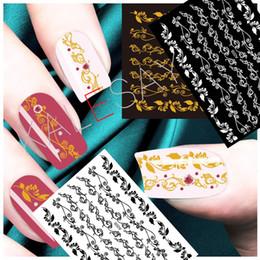 Chiodo arte fiori bianchi neri online-Carino Big Flower Nail Art Sticker Manicure Design Nero Decalcomania di lusso Autoadesivi Bianco Decalcomanie Nail Art per la decorazione