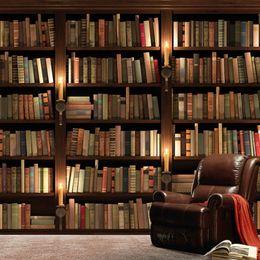 2019 estantería de libros Papel tapiz fotográfico personalizado 3D Estilo Europeo Sofá Retro Fondo de pantalla TV Mural Estantería Libros Libros Estantería Mural Papel de pared rebajas estantería de libros