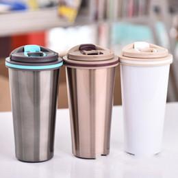 Tazze semplici online-Tazze da caffè portatili in acciaio inox Tazze da caffè per uomo e donna Accompagnamento per tazza Custodia per idratazione Custodia portatile Simple Fashion 17flC1