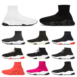 кроссовки Скидка Balenciaga Специальное предложение 2019 скорость тренер люксовый бренд обувь красный серый черный белый плоские классические носки сапоги кроссовки женщины тренеры Бегун размер 36-45
