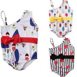 menina biquíni de uma peça Desconto Baby Girl Crianças One Piece-Bow Swimwear Swimsuit Beachwear de banho Piscina Roupa bonito Shoulder Impresso bowknot Fria Praia