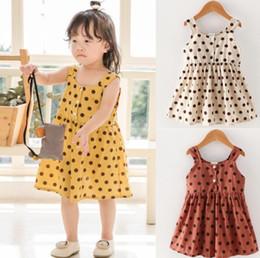 a20cb16c4003 2019 abiti di estate estivi Ins Euro Fashion Girl bambini vestiti firmati  ragazze Dress Dots Print