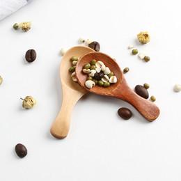 Utensílios de cozinha de madeira on-line-Naturel de madeira de chá colher de café Açúcar Sal Colher Utensílio Mini Madeira Colher Home Cooking Ferramenta TTA2108-2