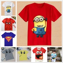 Stampa di minion online-2017 Estate T-shirt da Ragazzo Spiderman Superman Minions Cotone T-Shirt a maniche corte Stampa di bambini per bambini Bambini Neonati maschi Vestiti delle ragazze