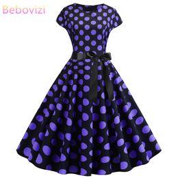 Ropa de vestir púrpura de las mujeres online-Bebovizi Ropa Mujer 2019 Nuevo Casual Verano Elegante Oficina Vestidos Morados Tallas grandes Sexy Dot Print 1950s Vendaje Vendaje Vestido