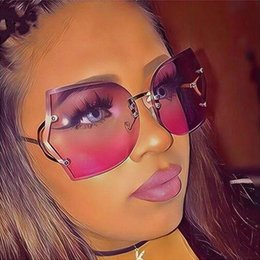 31ce37d3a6 Ojo de gato Gafas Mujer Gafas de sol Sin montura Marco de gafas Púrpura  Degradado Elegante Óptica Sin montura Dama de gran tamaño luneta