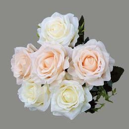 2019 roses rouges séchées Décorations séchées YO CHO Fleurs artificielles Roses Pivoine Faux Roses Fleurs en Soie Rouge Bouquet Rose Blanc Fête de Mariage Artificielle roses rouges séchées pas cher