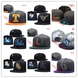 Wholesale NCAA UCLA Bruins Snapback Caps Negro amarillo gris Texas Longhorns Hat Miami Hurricanes LSU Tigers Gorras talla única La mayoría