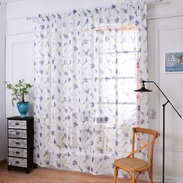 tende della camera da letto viola Sconti Moderno tulle romantico Viola lavanda Fashion Voile Cotone lino finestra tenda pura soggiorno camera da letto