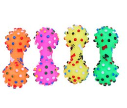 interactive puppy toys Promo Codes - Pet Dumbbell Shape Rubber Sound Toy Dog Cat Funny Squeaky Toys Puppy Teddy Teeth Cleaning Chew Toy