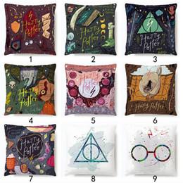 stampe magiche Sconti Harry Potter Pillow Case Occhiali Cappello Libro Star Magic Bacchetta stampa Cuscino decorazione della stanza Cuscino Decor LJJK1772